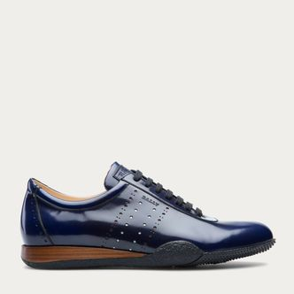 Aston Blue, Mens calf leather trainer in ink Bally