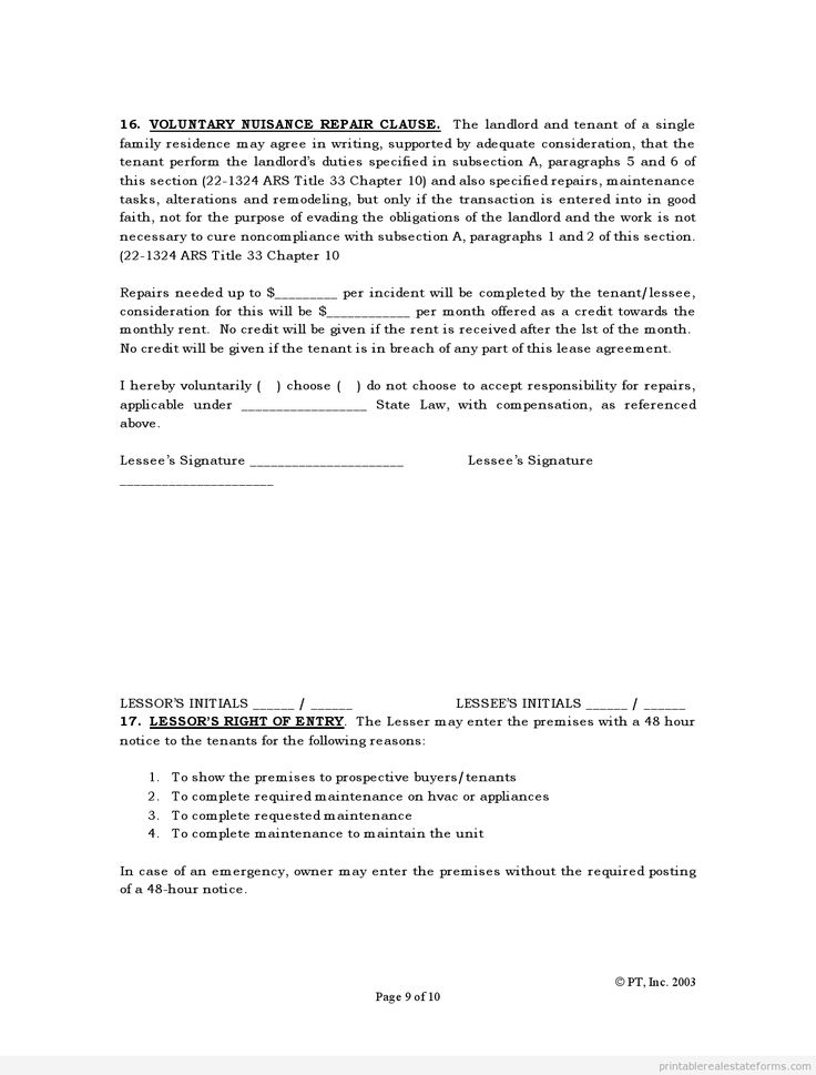 Printable standard lease agreement template 2015 sample for 0 hours contract template
