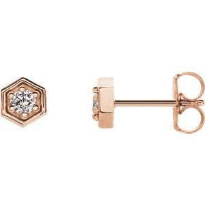 14K Rose 2.5mm Round Forever One™ Moissanite Earrings