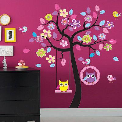 Grandes Con Dibujo De Búho Swing árbol extraíble Pared de vinilo adhesivo para…