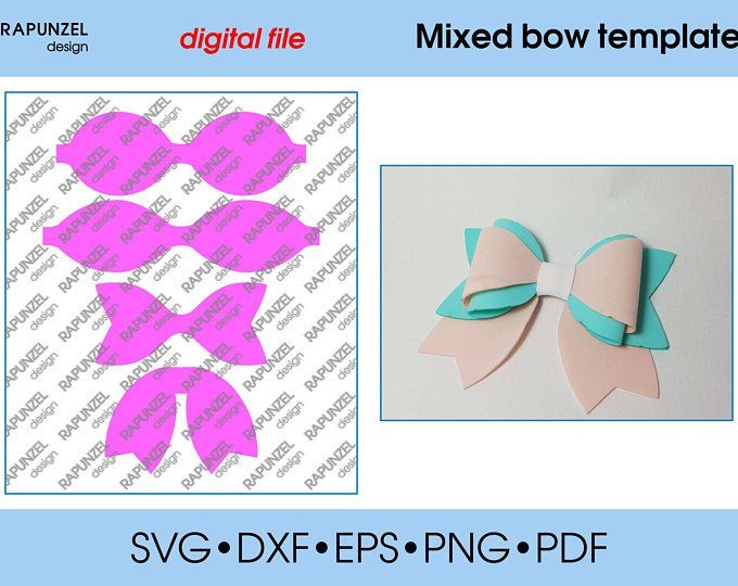 Butterfly Bow Template Svg Cut File Hairbow Template For Etsy