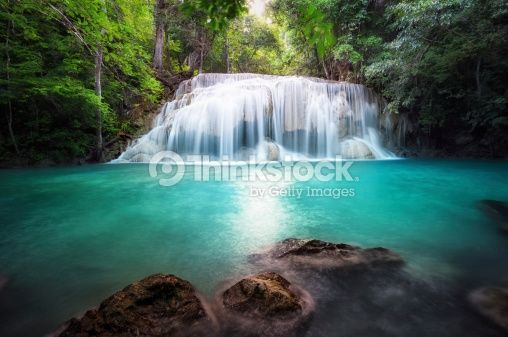 Stock Photo : Thailand outdoor photography of waterfall in rain jungle forest