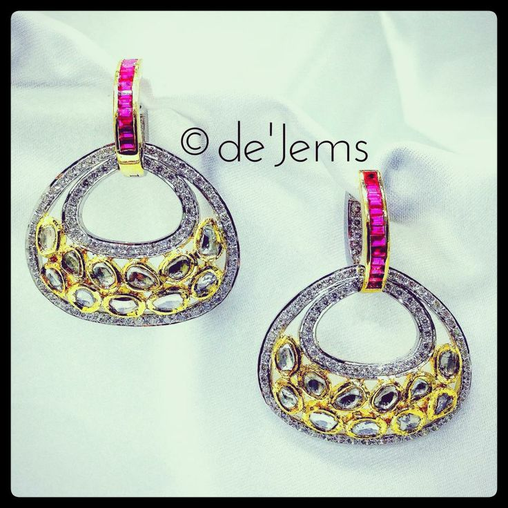 Jadau ear-rings, ft. 4.65ct of round brilliant and uncut diamonds, with 1.06ct of baguette cut rubies