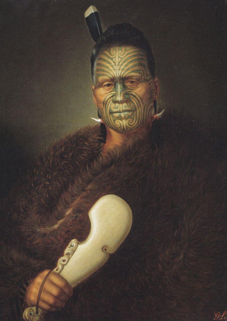 Gottfried Lindauer, Tawhiao Potatau Te Wherowhero, the second Maori King, c. 1885. Tukaroto Matutaera Potatau Te Wherowhero Tawhiao, the second Māori king, is clearly presented by Lindauer as a leading rangatira, with full-facial moko, huia feathers, pounamu ear ornament and a kahu kiwi (kiwi feather cloak).