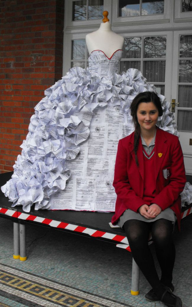A tender age of 15, the school girl created the dress from over 1500 divorce papers for her Art GCSE in just ten hours!