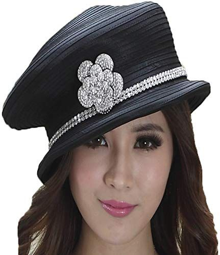 New June's Young Fashion Church Hat Women Hat Winter Satin Fabric Black online shopping – Winter Womens Accessories