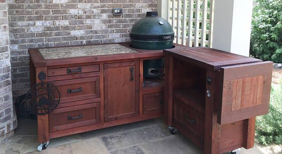 Grill Tables Cabinets For Kamado Joe Primo Or Big Green Egg Outdoor Kitchens Grill Carts Grill Islands Kamado Joe Deals Outdoor Kitchen In 2019 Outdoor Kitchen