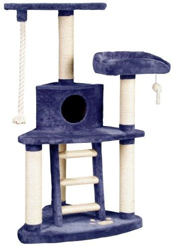 whisker world trilevel jungle gym cat furniture blue plush - Cat Jungle Gym