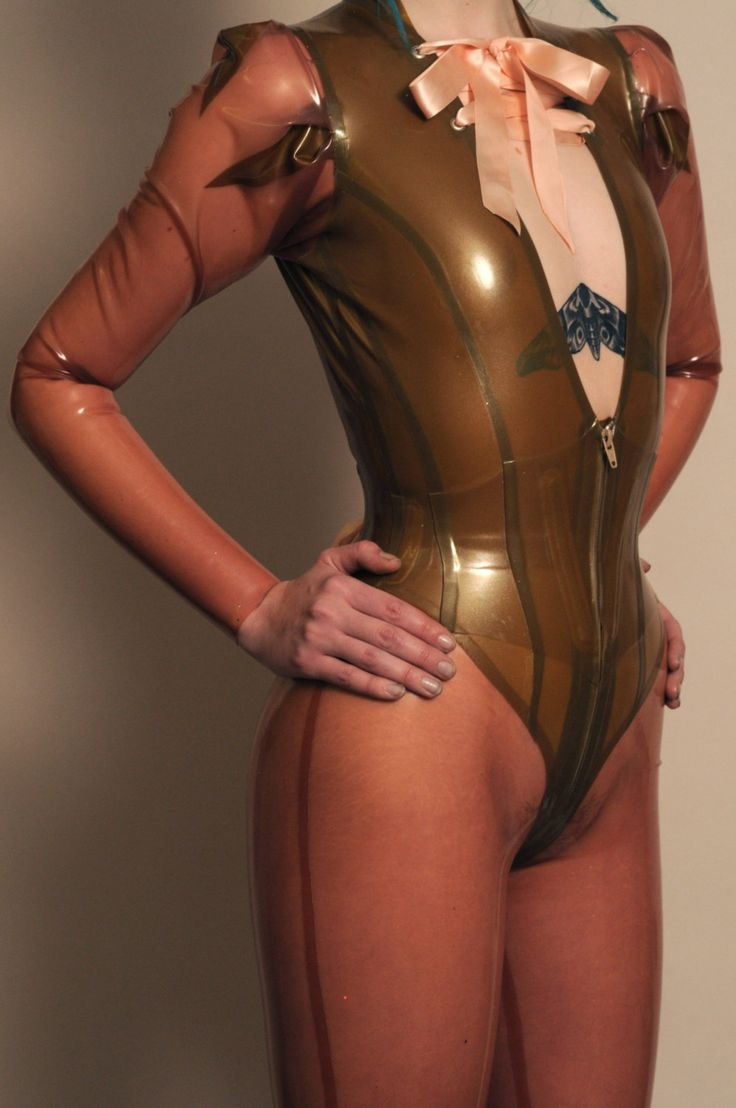 Sample Gold and transparent pink corset catsuit