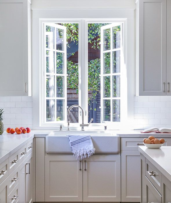 Kitchen Windows Boxed Out: Lovely+kitchen+features+a+farmhouse+sink+and+a+gooseneck