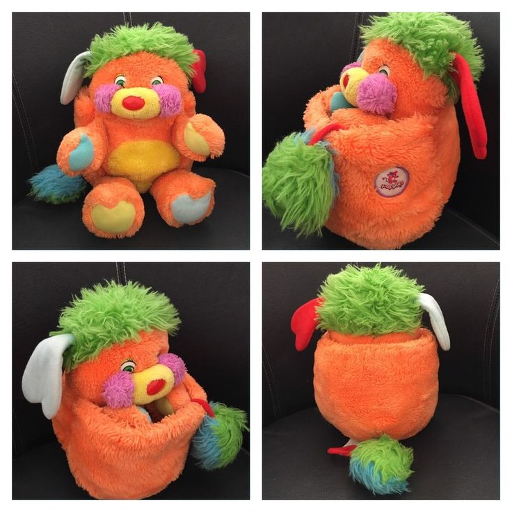 Vintage Peluche Doudou Popples Orange 21 / 31 Cm