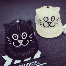yeni varış şapka karikatür nakış küçük çiçek bir kedi kulak kapağı hiphop beyzbol şapkası(China (Mainland))