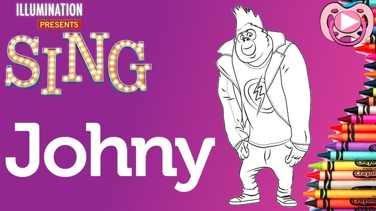 Personagens do filme Sing - colorit o Johny