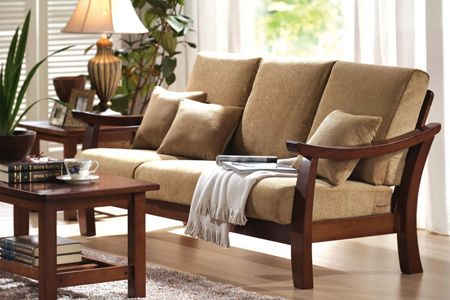 Low seating wooden sofa with solid wood frame A