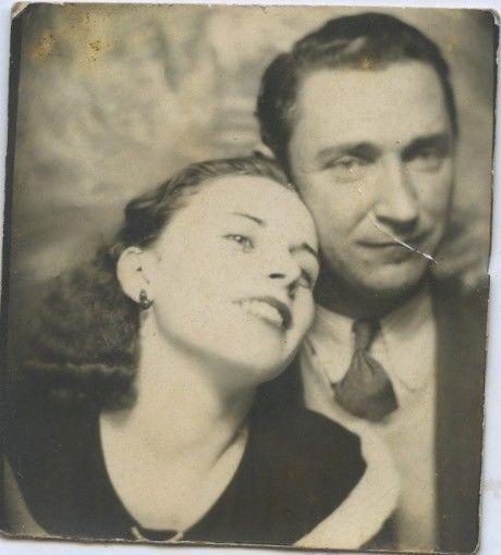 Vintage photo booth portrait. ROMANTIC GIRLFRIEND W/. HER MAN.