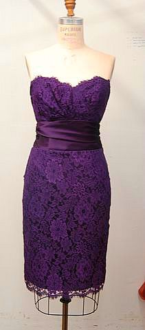 Purple Majestic Purple strapless tea-length lace dress with satin waist accent, Mackenzie Michaels