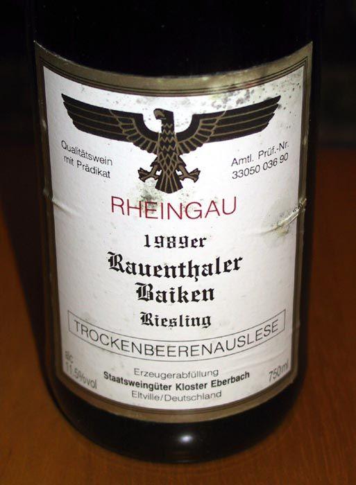 an extremely rare Trockenbeerenauslese from Rauenthaler Baiken