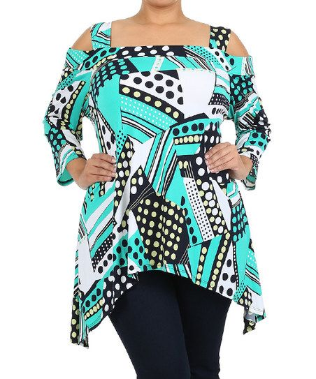 Teal & Navy Cutout Sidetail Tunic - Plus | zulily