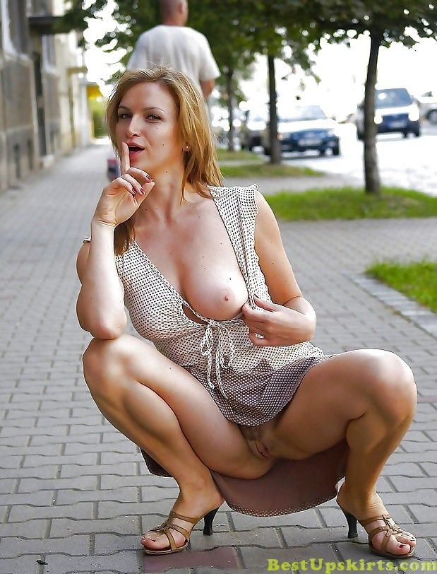 Hot mom upskirt in public