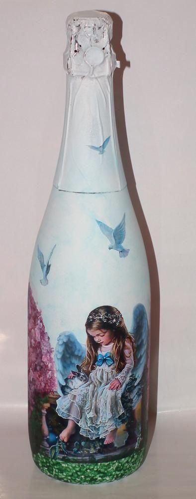 Бутылка в подарок на день рождения http://dcpg.ru/blogs/941/ Click on photo to see more! Нажмите на фото чтобы увидеть больше! decoupage art craft handmade home decor DIY do it yourself bottle
