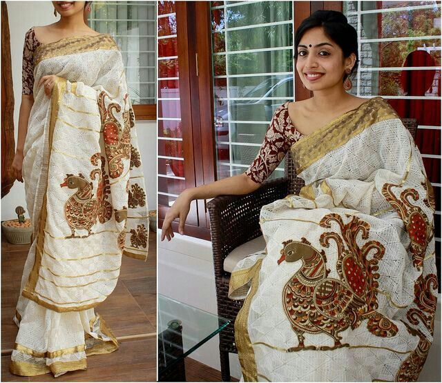 Kerala Saree with Mural Painting