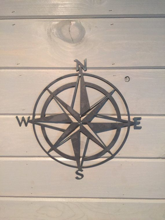 "Nautical compass- 14""- Saltwater Art- Pirate Decor- Fixer Upper- Man Cave Decoration- Beach Decor- Boat Dock- Boys Room- Sailing Decor-"