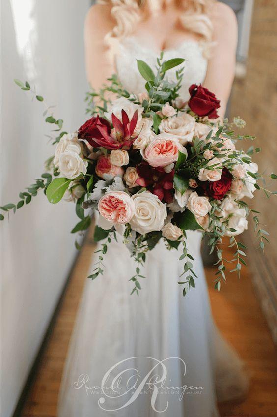 Romantic red, white and blush wedding bouquet; Via Rachel A. Clingen Wedding & Event Design