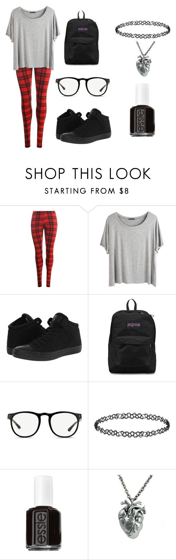 """""""Untitled #410"""" by xxghostlygracexx ❤ liked on Polyvore featuring WearAll, Chicnova Fashion, Converse, JanSport, Linda Farrow, Dorothy Perkins and Essie"""