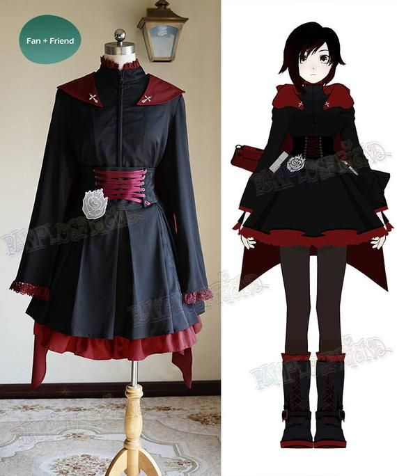 Ruby Rose Cosplay Halloween Costume Outfits Shirt Cloak Skirt