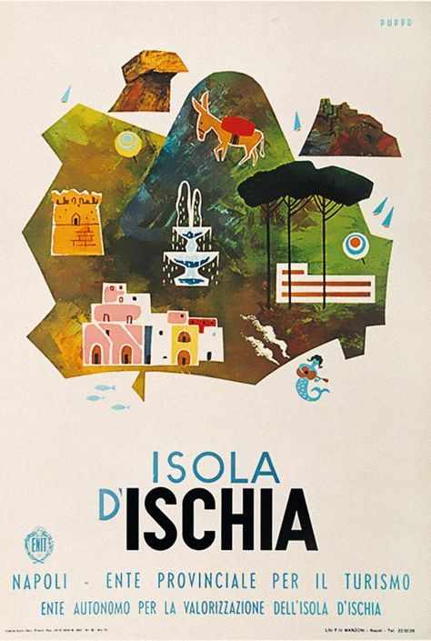 Vintage Travel Poster - Isola d'Ischia - Italy - by Mario Puppo.