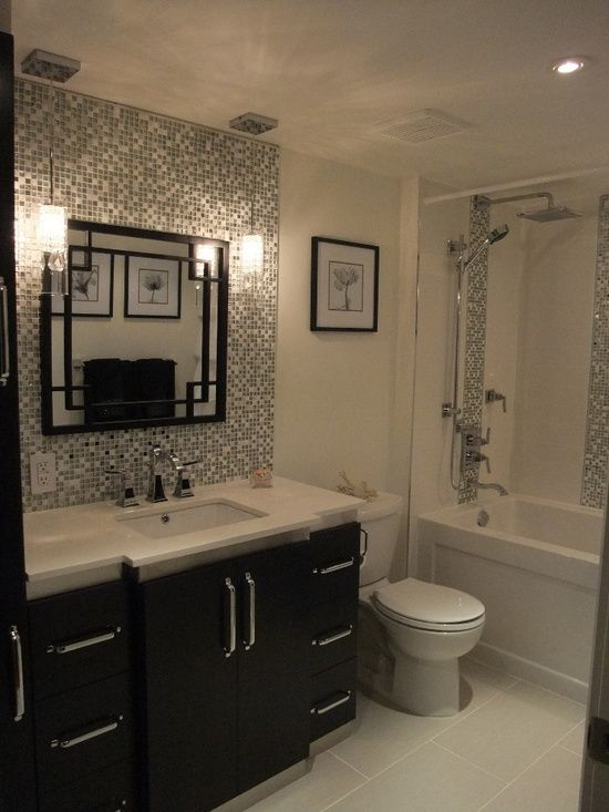 Tile Backsplash Behind Vanity Mirror And Hanging Pendant Lights Small Bathroom