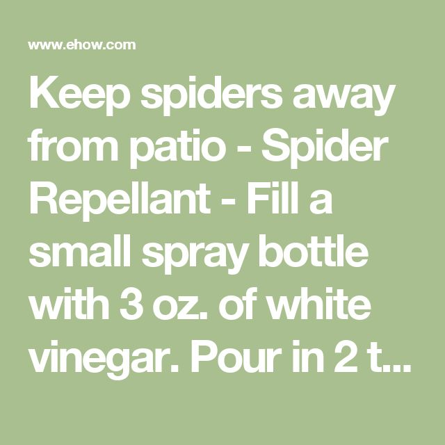 Keep spiders away from patio - Spider Repellant - Fill a small spray bottle with 3 oz. of white vinegar. Pour in 2 tbsp. of vanilla extract. Swirl the bottle around to mix the two ingredients.