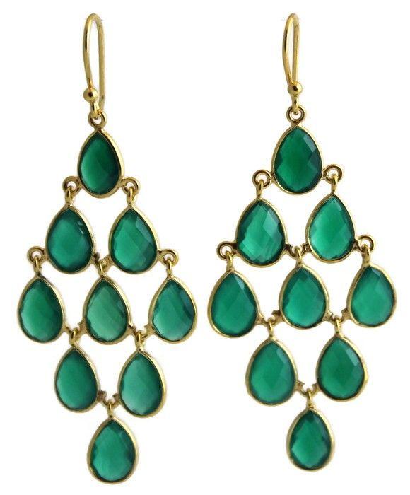 Hanne Green Chalcedony Chandelier Earrings