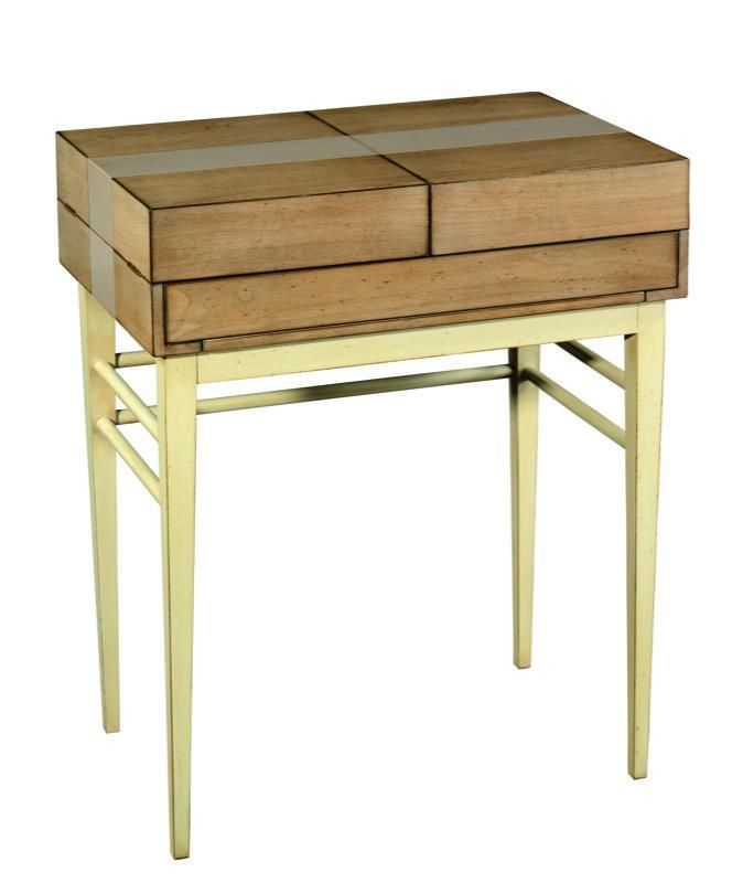 Grange Bereau Mario Desk - Côté Collection - shown closed. L 70 x H 85 x W 47 cm. Pull out shelf cherry wood, Panels: Cherry-wood veneer on MDF. Available with leather top