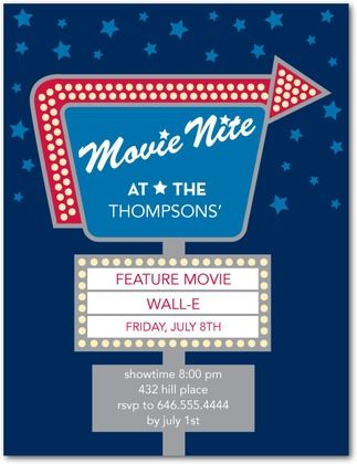 Party Invitations Drive-In Movie - Front : Navy - tiny prints