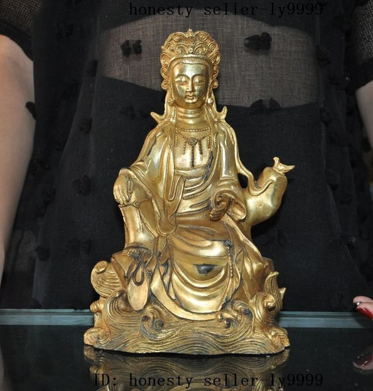 christmas old tibet buddhism bronze gilt 24K gold bird Kwan-Yin GuanYin Bodhisattva statue halloween #Affiliate