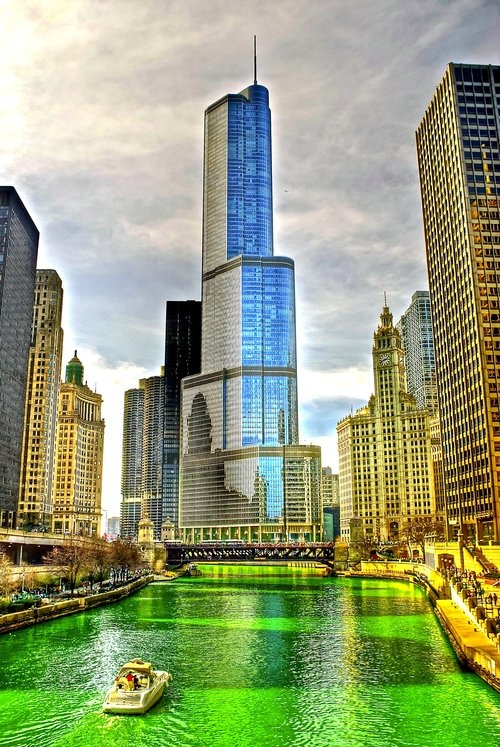 Chicago's Green River on St. Patrick's Day