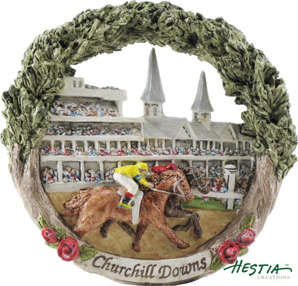 Churchill Downs Kentucky Derby in Louisville, Kentucky sculpted ornament by Hestia Creations. #hestiacreations #customgift #marbleheadma #churchilldowns #louisvilleky