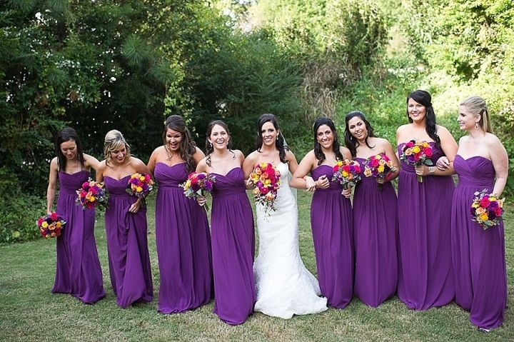 Purple Wedding Dresses And Suits : Fall colors plum and purple long bridesmaids dresses