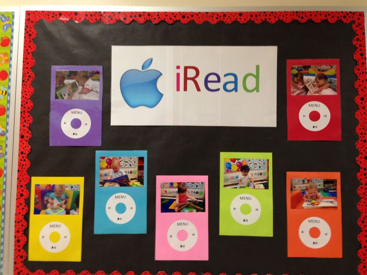 My September Bulletin board. I took pictures of my babies Reading and made an iPod for my iRead board.