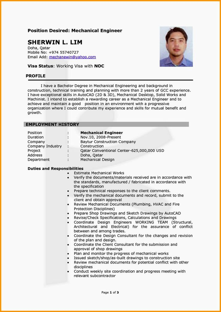 25 Mechanical Engineer Resume Templates in 2020