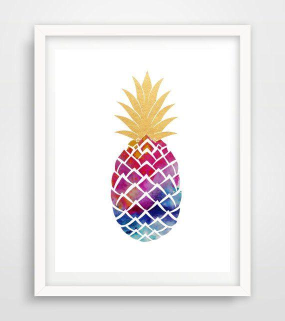Pineapple Print Printable Wall art  Pineapple by honeytreeprints