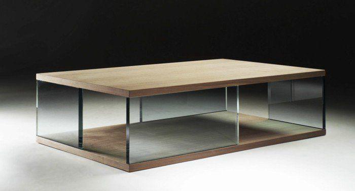meubles de salon, table basse bois et verre pour le salon moderne
