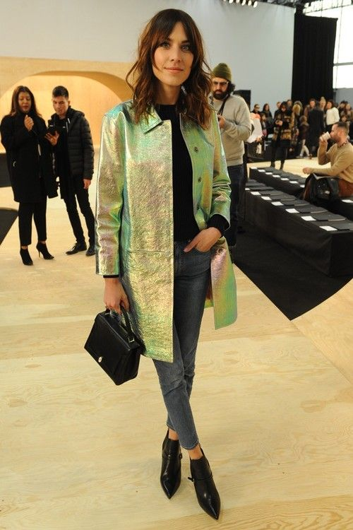 Alexa Chung at the Marc by Marc Jacobs FW15 show. That oil spill jacket though? The dreamiest waterproof we ever did see.