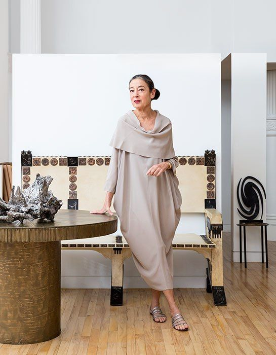 Cool dress. No idea who makes it. Wearing it is Michele Oka Doner in Arch Digest, photo by Floto + Warner