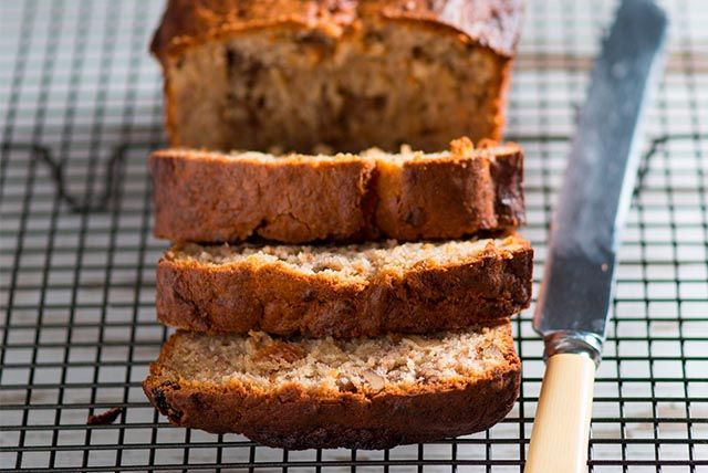 This banana bread recipe is moist and delicious.  With the sweetness of mashed bananas and crunchy walnuts our bakery-inspired banana bread is sure to become a family favourite.