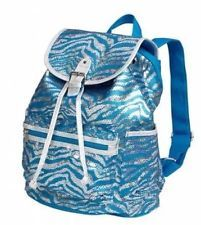 Justice Backpacks for Girls | NWT! Girls Justice backpack Sparkly Sequin zebra blue silver CUTE!