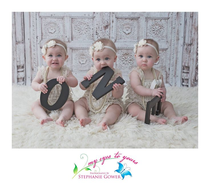 First birthday shoot with the cutest triplets! www.myeyestoyours... London, ON #photographer #photography #children #babies #LndOnt