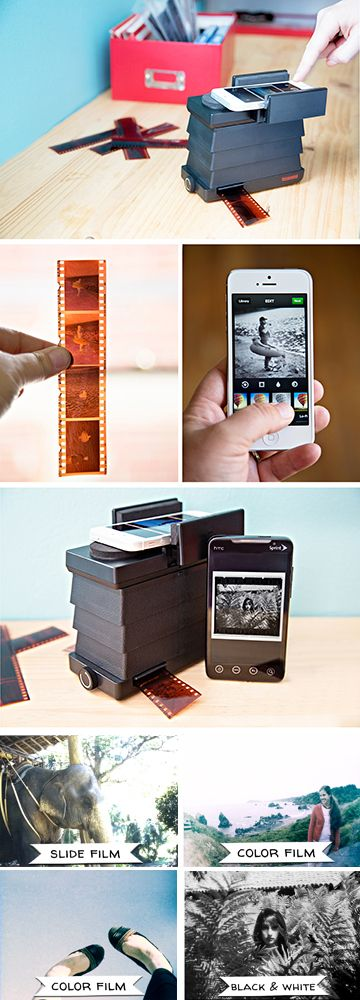 Analogue + Digital!  The Smartphone Film Scanner brings your 35mm into the digital world. Simply mount your smartphone, slide in your film, use a free app to invert the colors and snap a pic! It works with iPhones, Androids and any 35mm negatives.