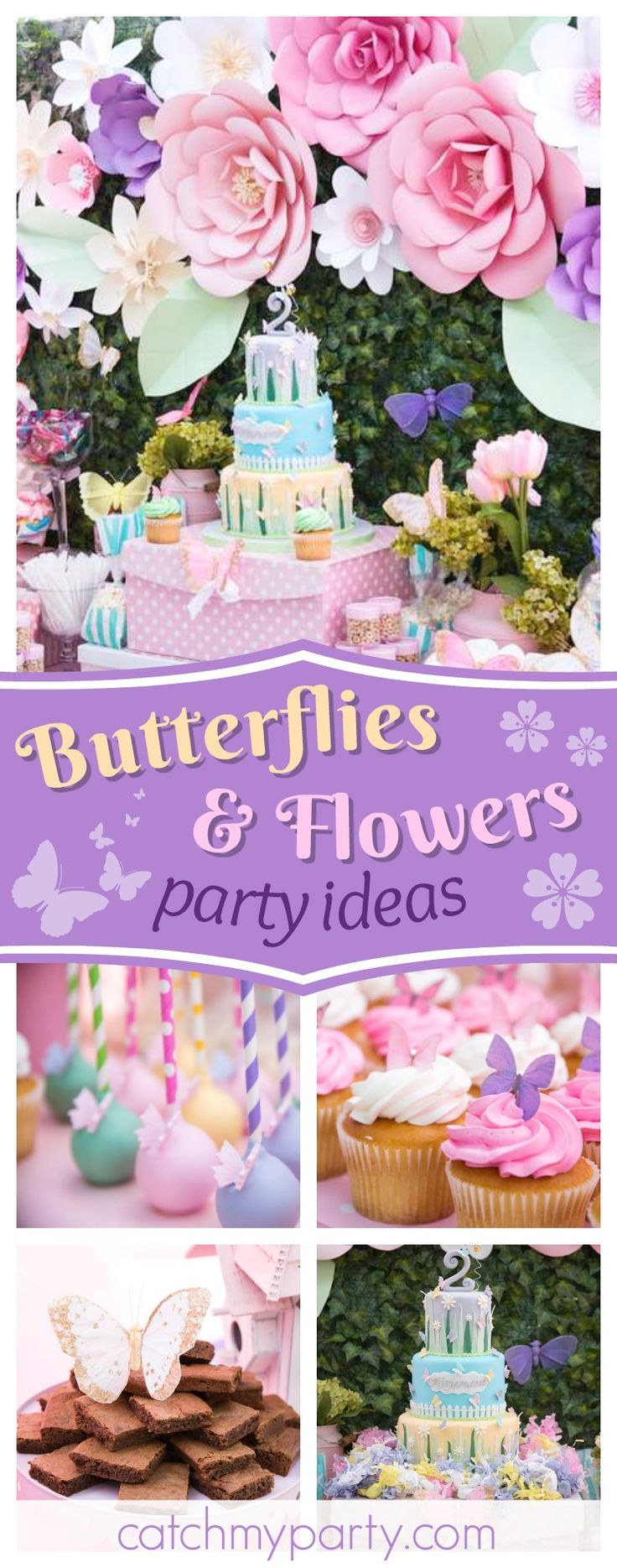 Don't miss this pretty butterflies and flowers garden birthday party! The cupcakes are gorgeous!! See more party ideas and share yours at CatchMyParty.com #garden #butterflies #flowers #girlbirthday